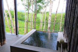Private outside onsen on villa balcony