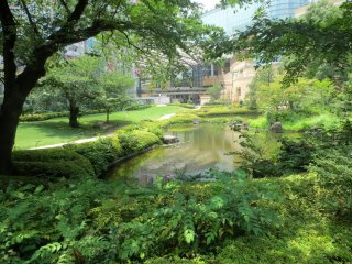 A glimpse of the pond looking towards Mori Tower