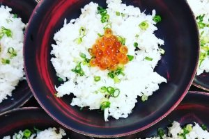 Fish eggs and rice.