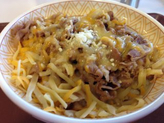 This Gyudon beef bowl is available in many sizes and is shown here topped with cheese
