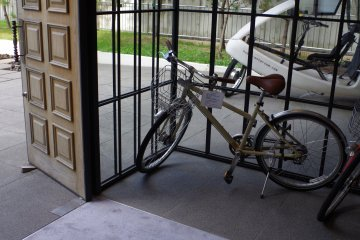Bike for renting at 1400 yen a day at Hotel Anteroom in Kujo one stop south of Kyoto