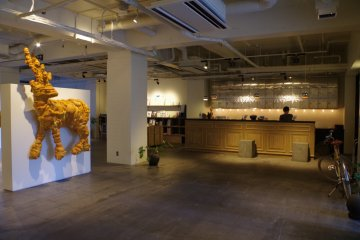 Reception and gallery of Hotel Anteroom in Kujo one stop south of Kyoto