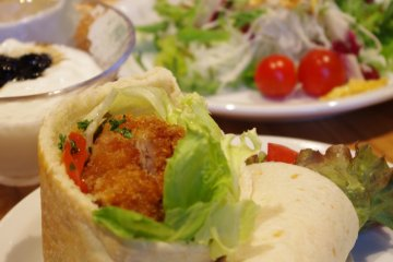 <p>The pita and wrap are made to order at the open kitchen.</p>