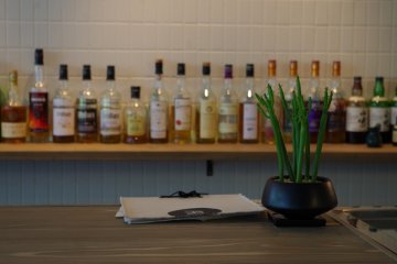 <p>Lounge bar decorated with simple greens&nbsp;at Hotel Anteroom Kyoto</p>