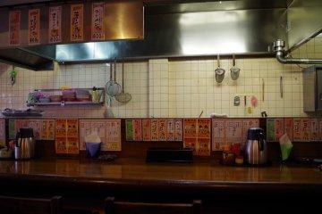 Kitchen behind the bar