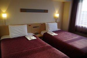 Twin room of Hotel ibis Styles Kyoto Station which is located just outside Hachijo Exit of JR Kyoto Station