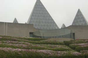 A closer look at the pyramid-styled architecture