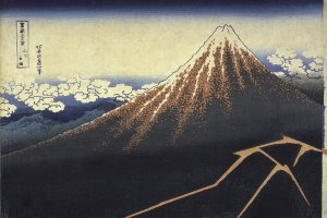 Rainstorm Beneath the Summit by Hokusai