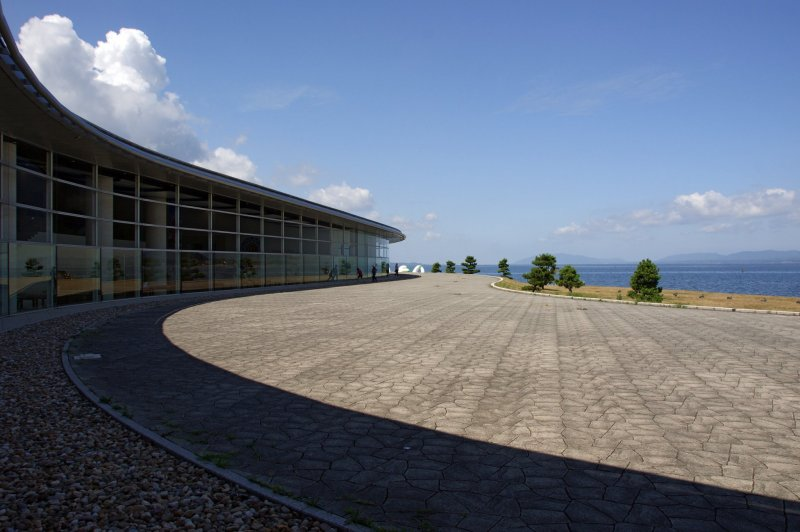 The museum faces out to the beautiful views of Lake Shinji