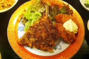 Amazing pork cutlet and crumbed oysters