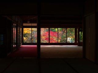 天授庵に着いて初めに眼にする額縁絵画のような窓の景色