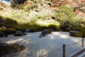 The style represents the view of mountain and water making use of stone or sand without using any water or pond.