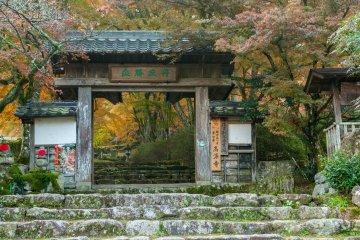"""Храмовые ворота, надпись на кандзи гласит: """"Танкюсёсё"""""""