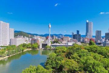 Hiroshima Castle view from observation platform
