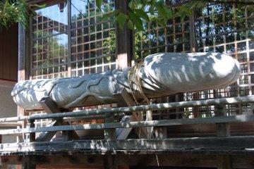 The giant wooden phallus at Taga Shrine