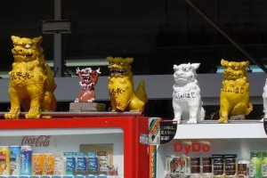 Shisa on vending machines in Okinawa