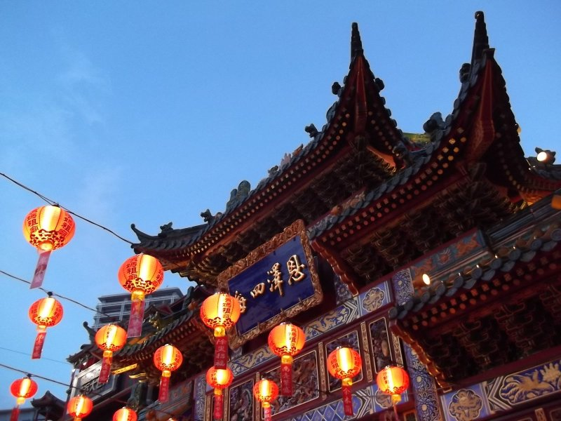 Lanterns at a temple in Chinatown