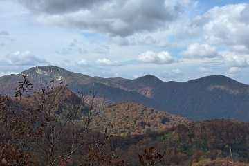 The 3 peaks seen from the distance L Mt Ushigata, C Mt Shirokkomori R Mt Washigamori