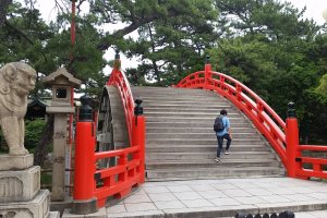 Taiko-bashi from another angle to show the steep steps