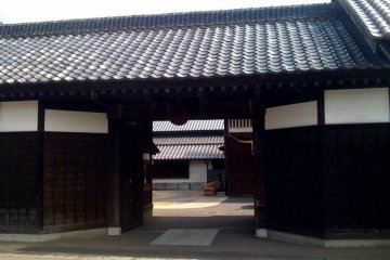 Outside Kiuchi Brewery: the traditional sake heritage is evident