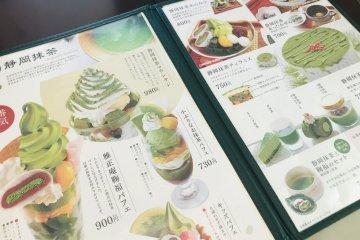 Gasho-an green tea sweets menu