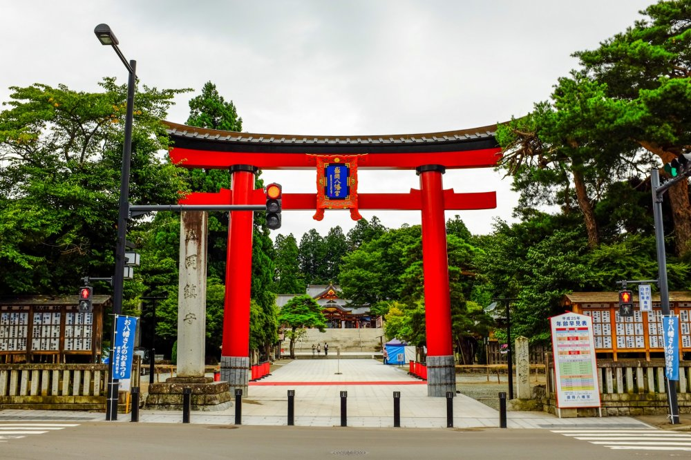 The large Torii gate as seen from the entrance to the Shrine