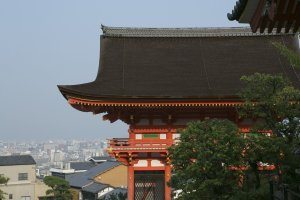 A final glimpse as the near fully risen sun signaled my leave at Kiyomizu Temple in the Higashiyama mountains east of Kyoto
