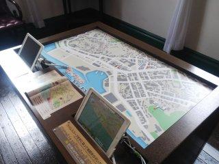 旧文書室及び待合室では、唐戸地区の変遷をARから見ることができます