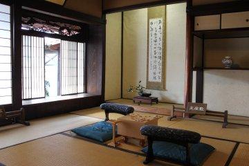 <p>Shogi room inside Yoshida house. Note the carvings above the doors.</p>