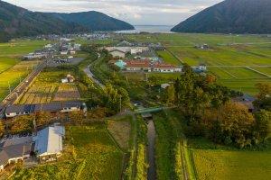 Aerial view over Nishiazaicho, Nagahama