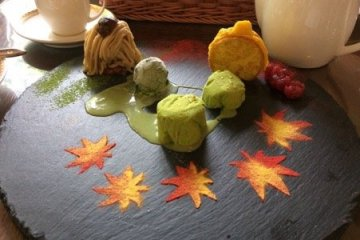 Exquisite autumn themed sweets at Fujiya Hotel