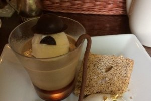 Dessert in honor of Charlie Chaplin, who once visited the Fujiya Hotel