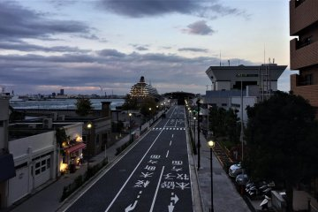 A road to the Osanbashi Pier with lights