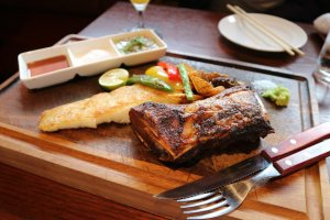 Grilled fish served on the bone