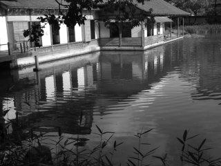 A casa e o lago num elegante preto e branco