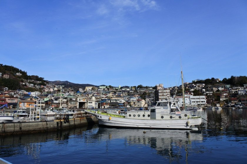 The view of Manazuru Town\'s port. It is sometimes compared to the French Riviera or the Amalfi Coast.