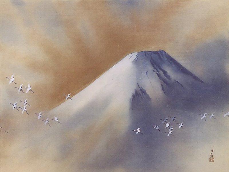 """""""Snowy Peak with Cranes"""" by Yokoyama Taikan"""