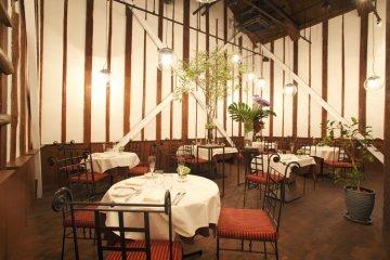 Inside the main kura, the Shikemichi Restaurant.