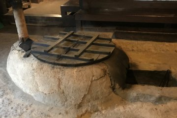 This looked like a big ofuro to me but it is a pot to cook fodder for animals.