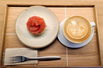 The tarte of the season this month is topped with fresh grapefruit