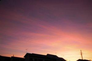 A beautiful sunrise in Akishima City