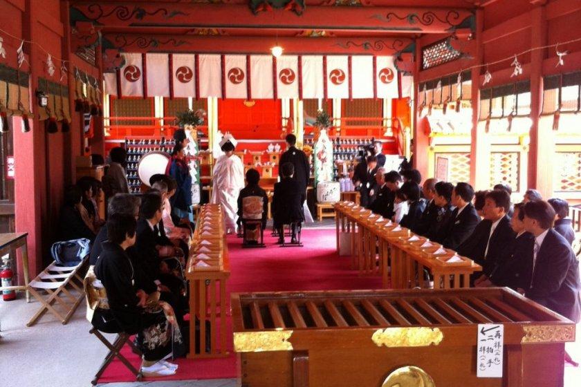 A Shinto wedding in progress