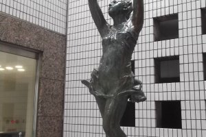 A statue by the entrance