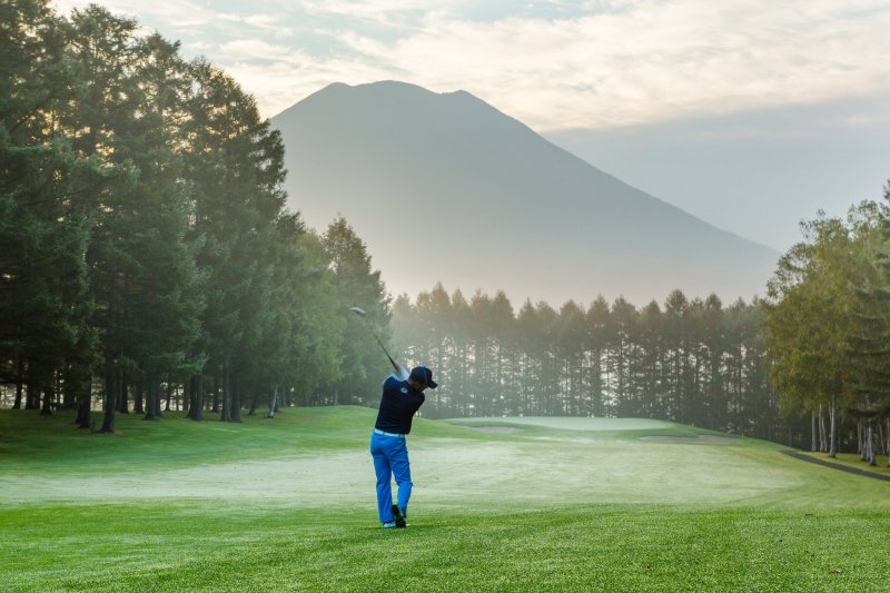 Views of Mount Yotei from the golf course
