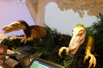 Introverts and dino fans will appreciate the check-in process here