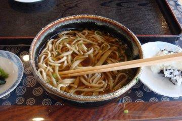 Hand cut soba noodles from Kugino Soba Dojo