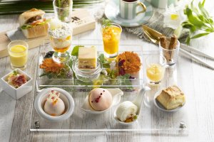The afternoon tea menu incorporates the taste of summer via peach and mango dishes