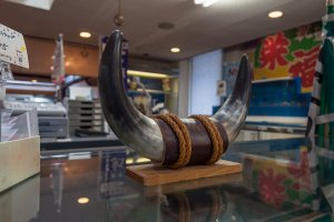 A part of Oki's rich culture that you can check out in the shop (these are real bull horns)