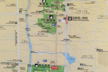 Map of Toshodaiji and Yakushiji area