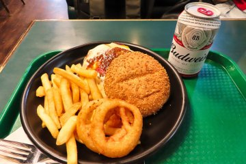 Lucky Pierrot Cheese Burger, Fries and Onion Rings